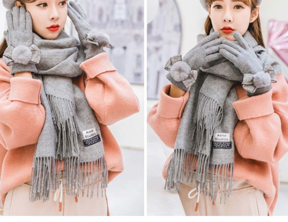 Birthday Present For Mother, Creative Gift Set of Scarf Gloves Earmuff, Elegant Gift Three-piece Set for Warm Winter 14