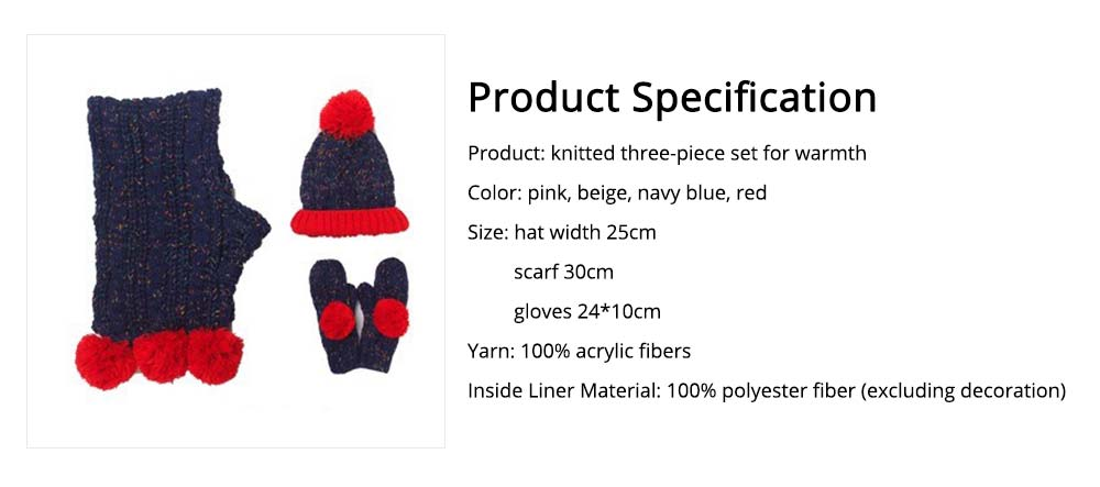 Winter Hat Scarf Glove Set, Anti-coldness Gift for Students 13