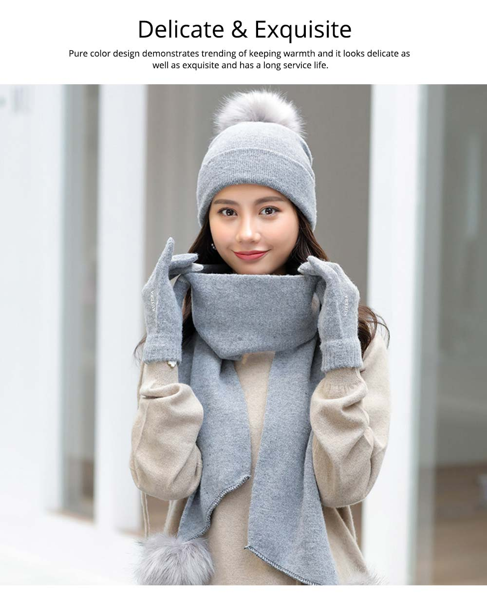 Wool-added Thickened Set of Scarf Hat Gloves as Birthday Gift for Girlfriend Confidant Boyfriend, Three-piece Set for Cold Winter 8