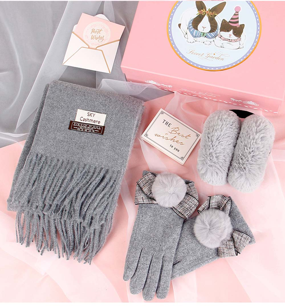 Birthday Present For Mother, Creative Gift Set of Scarf Gloves Earmuff, Elegant Gift Three-piece Set for Warm Winter 12