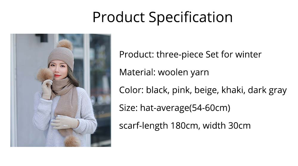 Wool-added Thickened Set of Scarf Hat Gloves as Birthday Gift for Girlfriend Confidant Boyfriend, Three-piece Set for Cold Winter 13