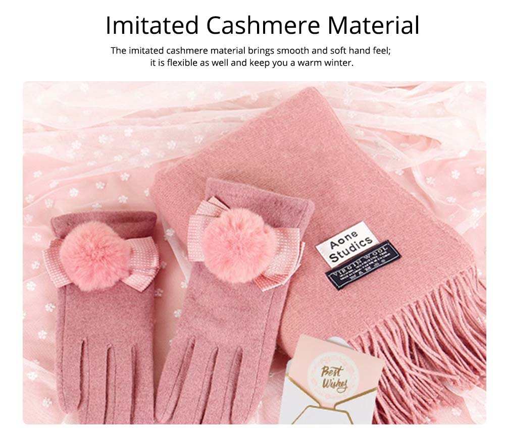 Birthday Present For Mother, Creative Gift Set of Scarf Gloves Earmuff, Elegant Gift Three-piece Set for Warm Winter 8