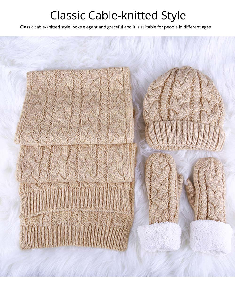 Set Of Scarf Hat Gloves as Gift for Girlfriends Confidant, Thickened Wool-added Three-piece Set for Warmth in Winter 9