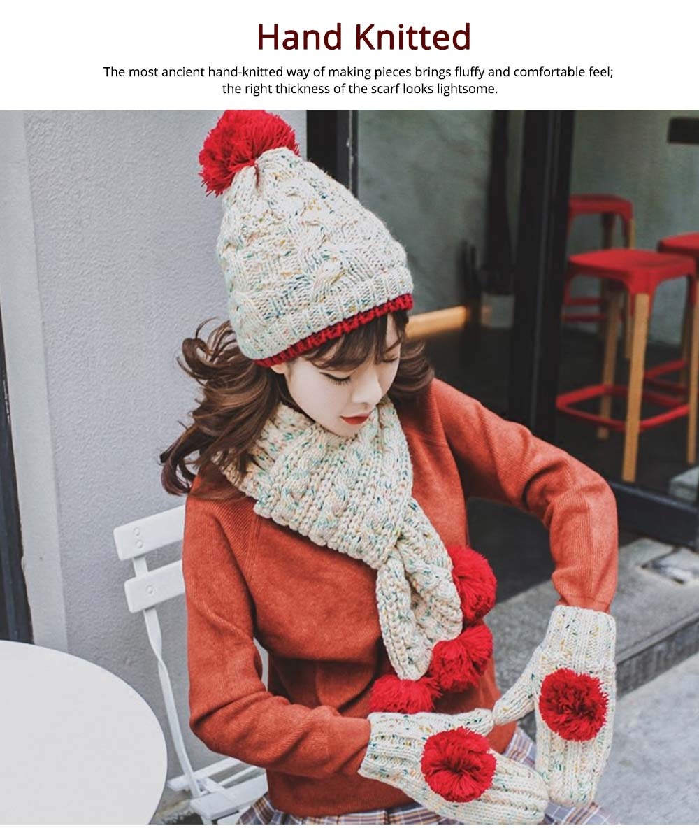 Winter Hat Scarf Glove Set, Anti-coldness Gift for Students 9