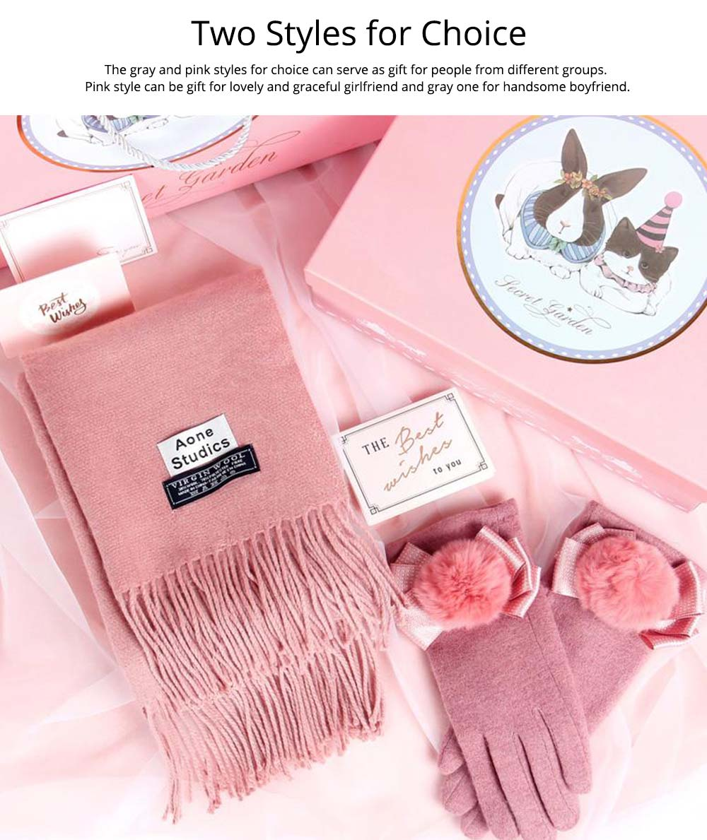 Birthday Present For Mother, Creative Gift Set of Scarf Gloves Earmuff, Elegant Gift Three-piece Set for Warm Winter 11