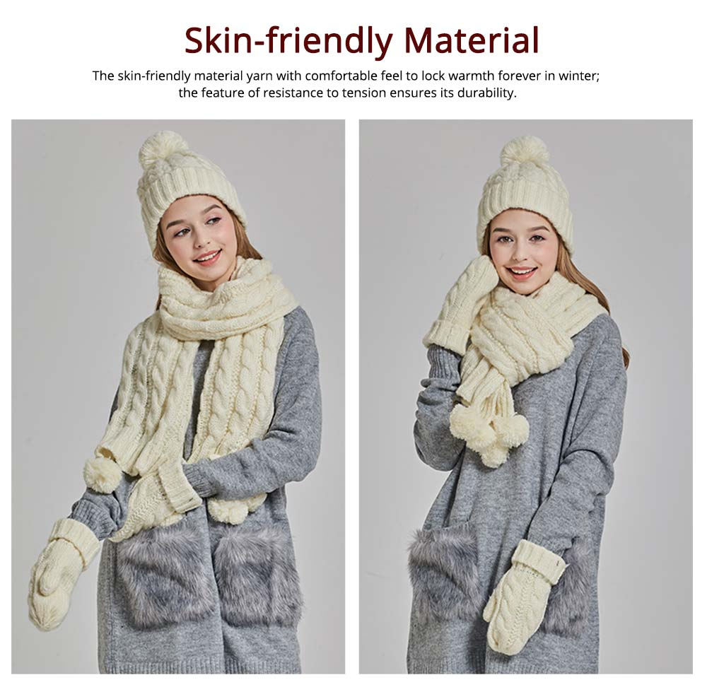Gloves, Scarves & Hats for Women Anti-coldness Christmas Gift, Wool-added Thickened Korean Style Lovely Gift for Warmth 1