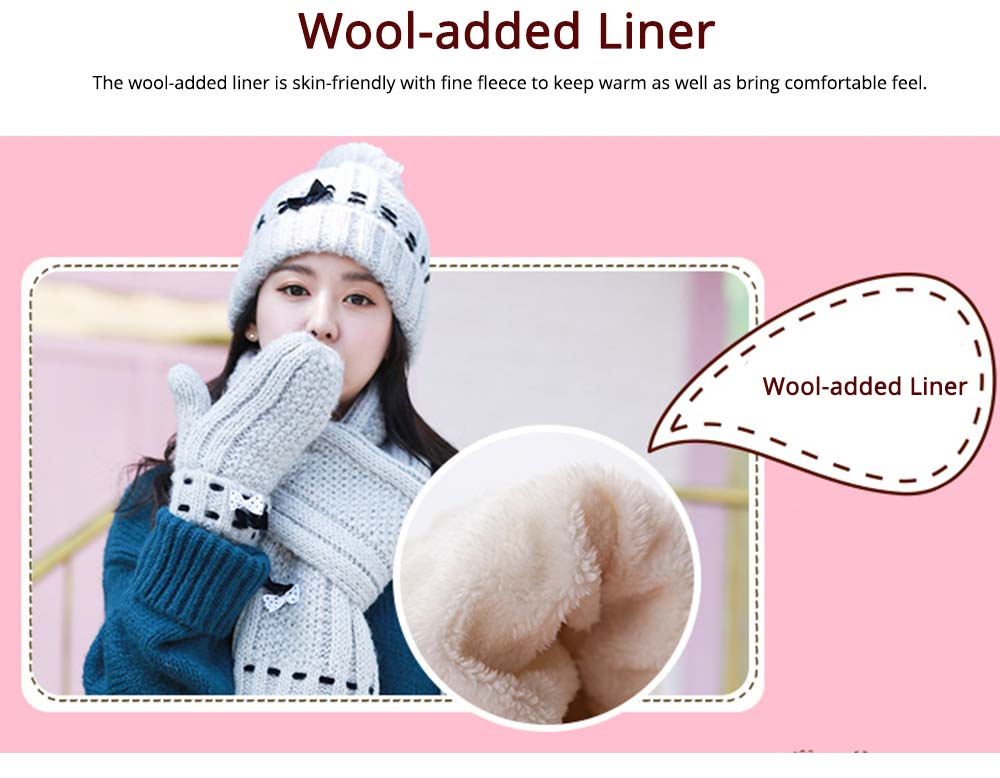 3 Piece Hat, Scarf & Glove Women's Winter Set, Thickened Wool-added Women's Accessories Korean Style with Lovely Bowknot 10