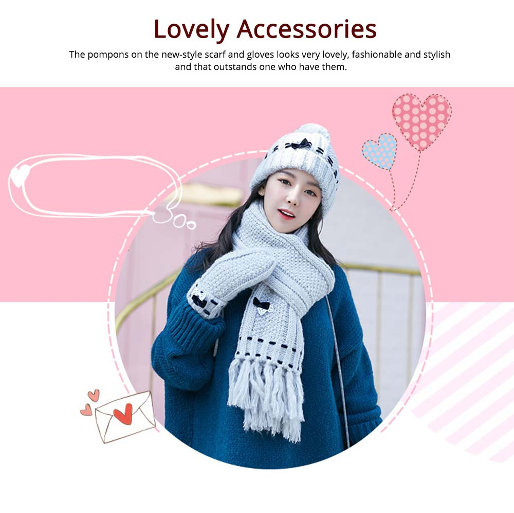 3 Piece Hat, Scarf & Glove Women's Winter Set, Thickened Wool-added Women's Accessories Korean Style with Lovely Bowknot 9