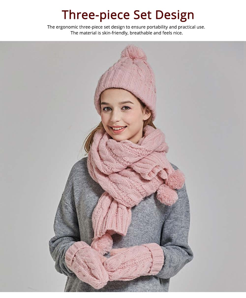 Gloves, Scarves & Hats for Women Anti-coldness Christmas Gift, Wool-added Thickened Korean Style Lovely Gift for Warmth 2