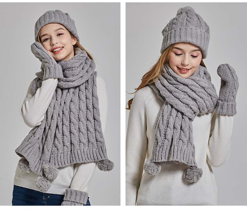 Gloves, Scarves & Hats for Women Anti-coldness Christmas Gift, Wool-added Thickened Korean Style Lovely Gift for Warmth 7