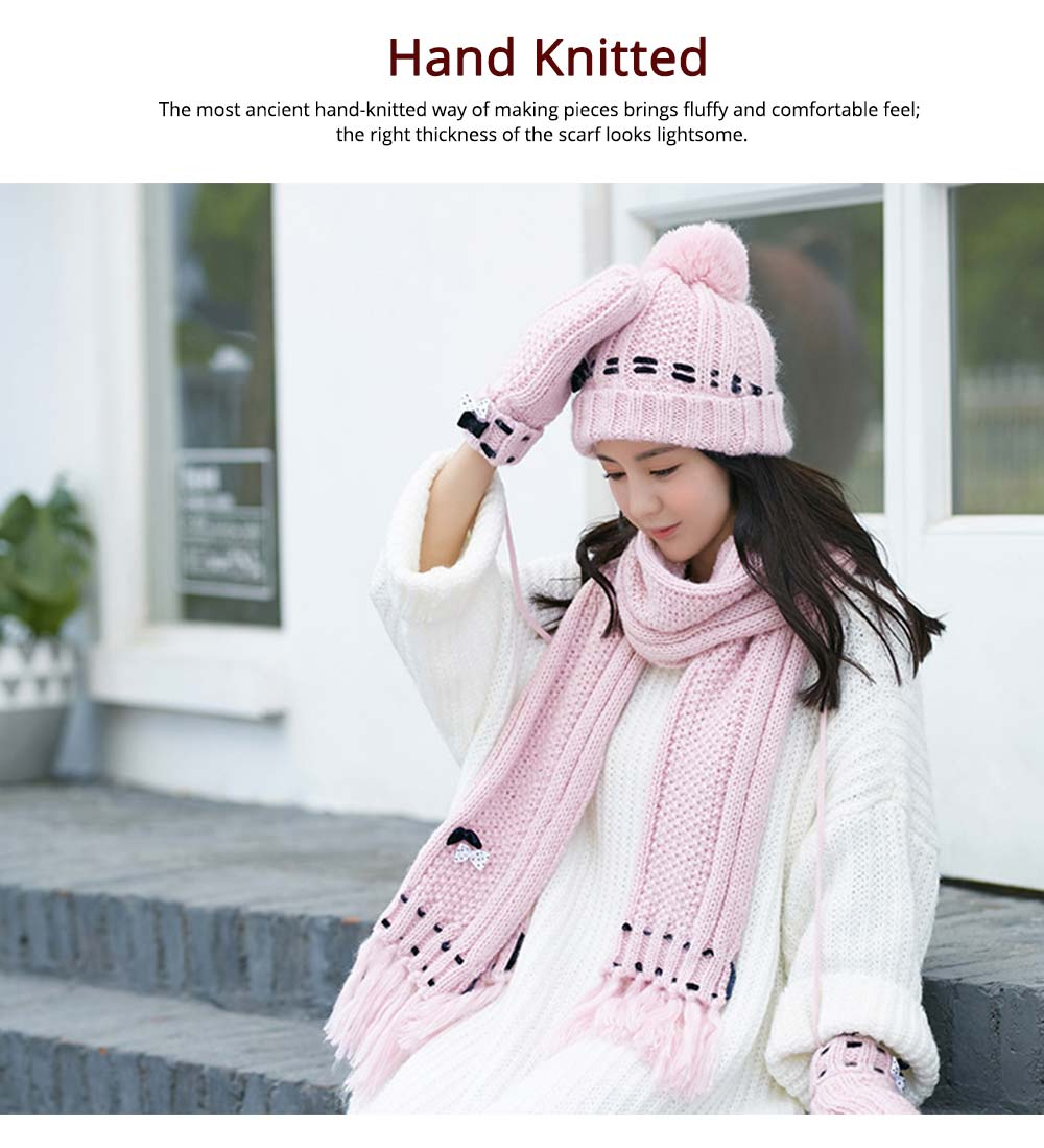 3 Piece Hat, Scarf & Glove Women's Winter Set, Thickened Wool-added Women's Accessories Korean Style with Lovely Bowknot 8