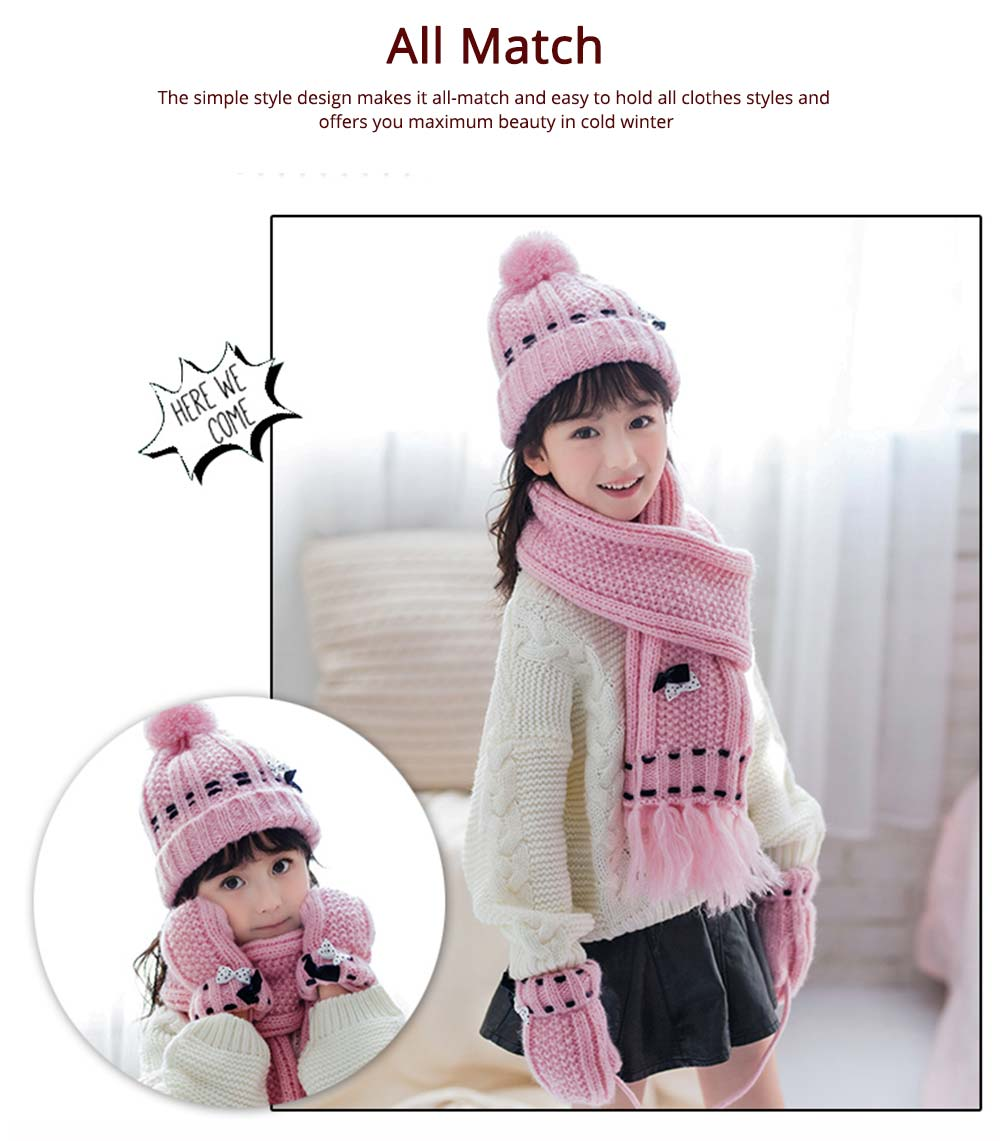 3 Piece Hat, Scarf & Glove Women's Winter Set, Thickened Wool-added Women's Accessories Korean Style with Lovely Bowknot 12