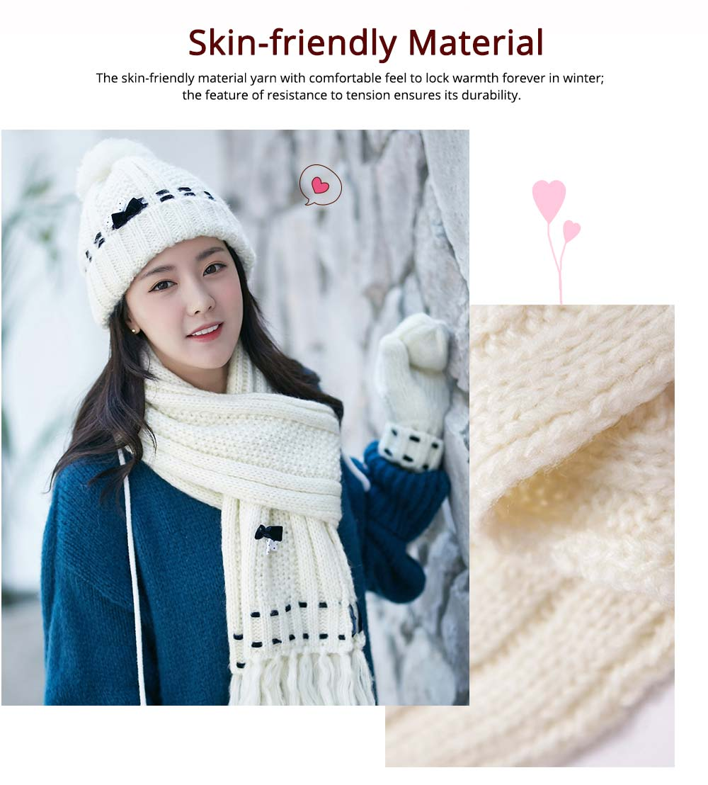 3 Piece Hat, Scarf & Glove Women's Winter Set, Thickened Wool-added Women's Accessories Korean Style with Lovely Bowknot 1