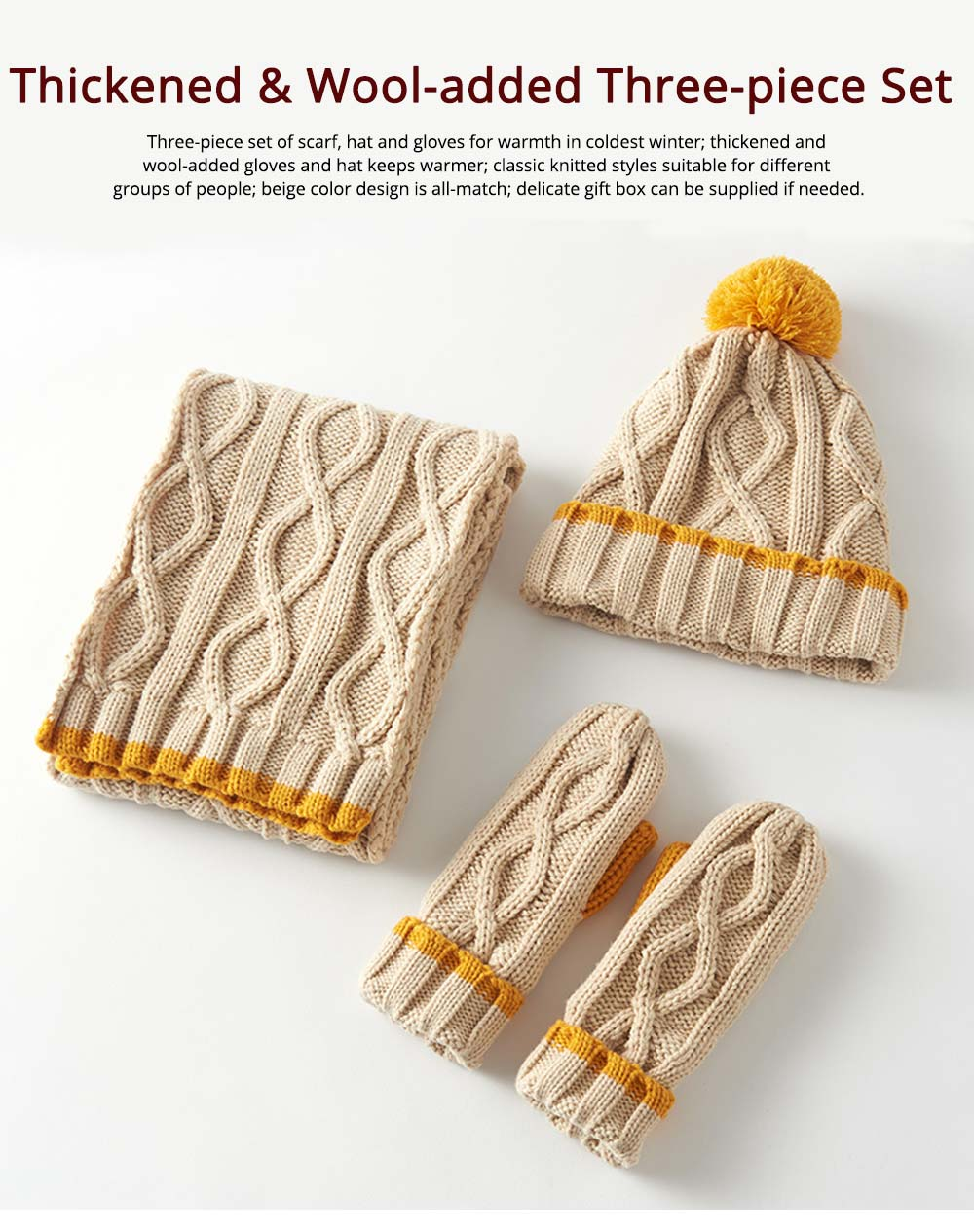 Women's Hats Gloves Scarves Thickened Wool-added Three-piece Set as Gift for Friends 0
