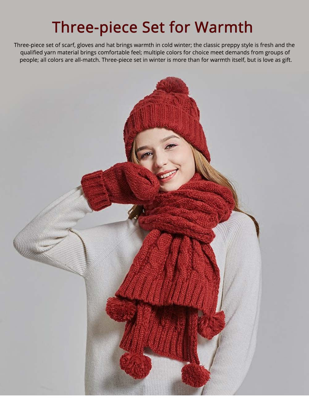 Gloves, Scarves & Hats for Women Anti-coldness Christmas Gift, Wool-added Thickened Korean Style Lovely Gift for Warmth 0