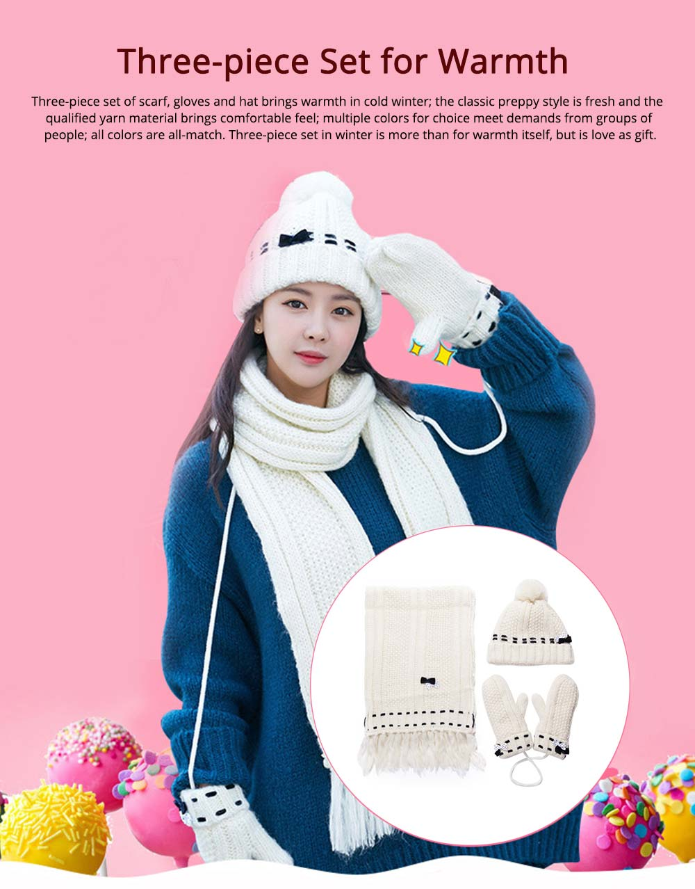 3 Piece Hat, Scarf & Glove Women's Winter Set, Thickened Wool-added Women's Accessories Korean Style with Lovely Bowknot 0