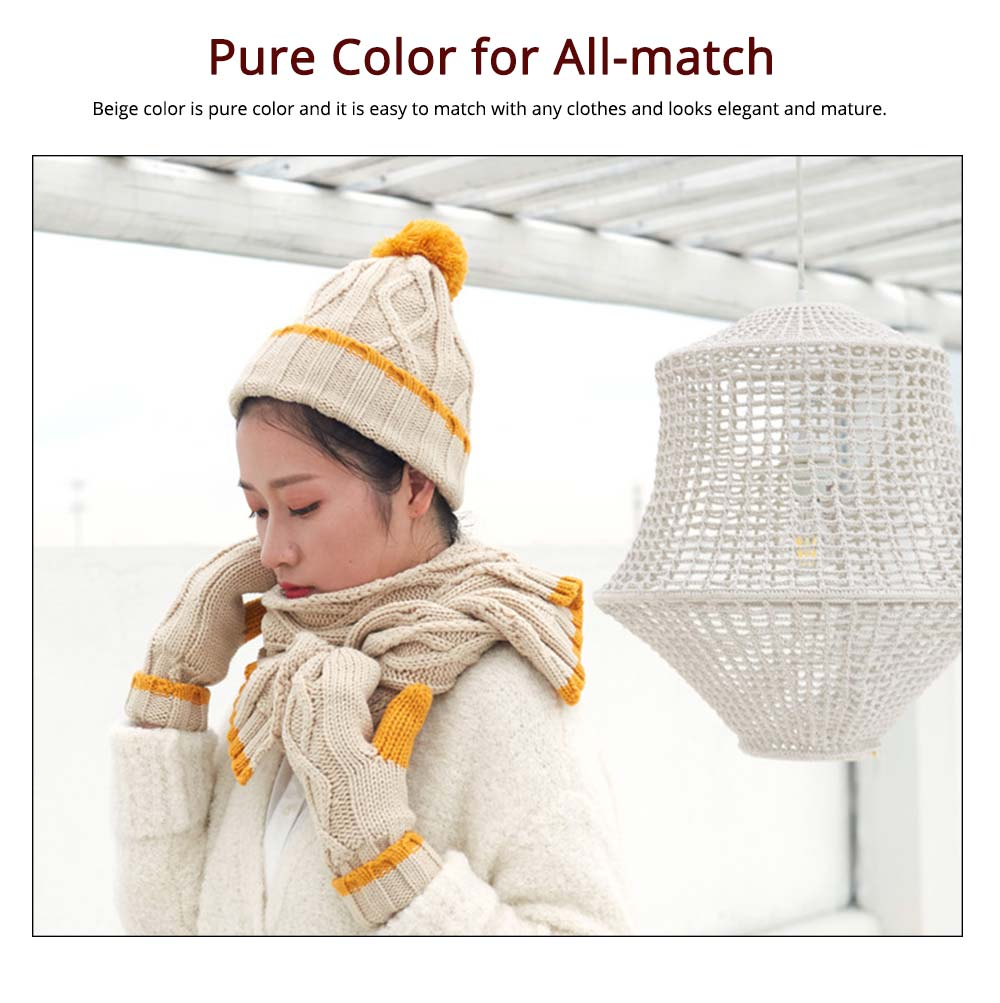 Women's Hats Gloves Scarves Thickened Wool-added Three-piece Set as Gift for Friends 4