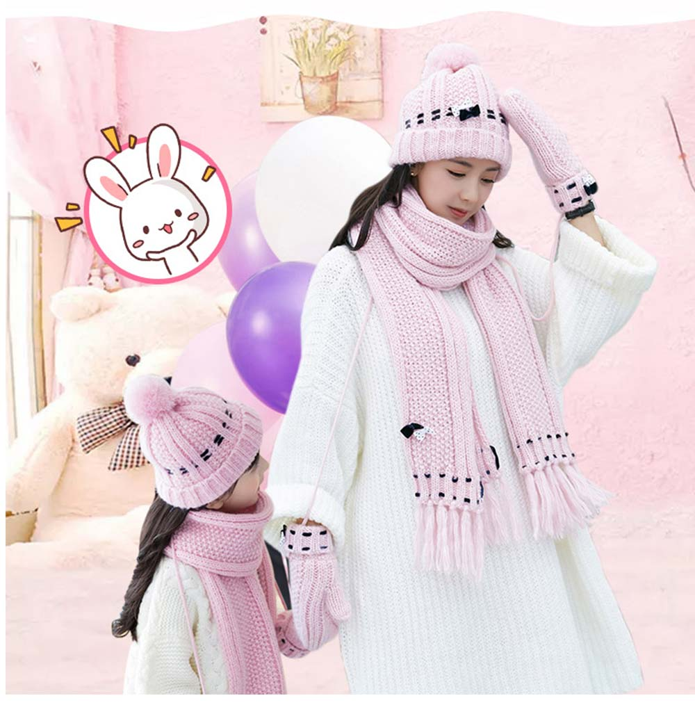 3 Piece Hat, Scarf & Glove Women's Winter Set, Thickened Wool-added Women's Accessories Korean Style with Lovely Bowknot 13