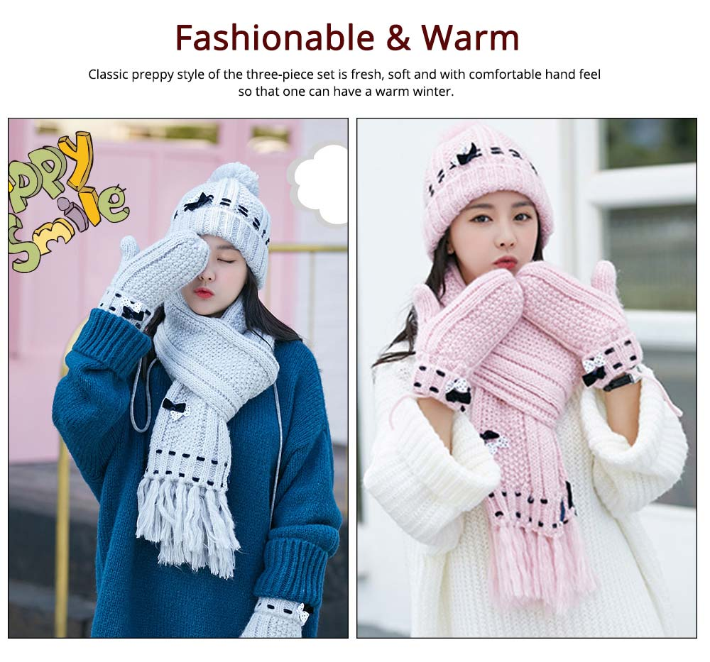 3 Piece Hat, Scarf & Glove Women's Winter Set, Thickened Wool-added Women's Accessories Korean Style with Lovely Bowknot 11