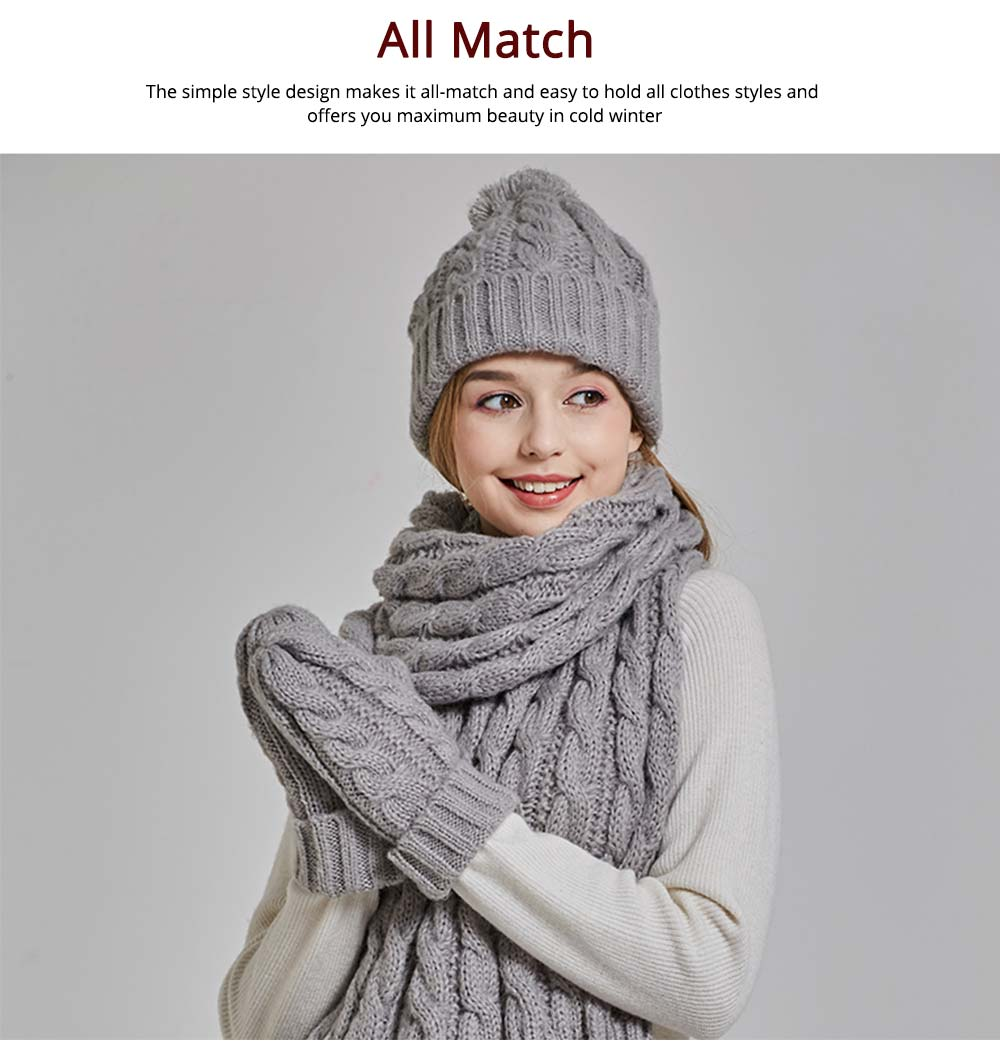 Gloves, Scarves & Hats for Women Anti-coldness Christmas Gift, Wool-added Thickened Korean Style Lovely Gift for Warmth 6