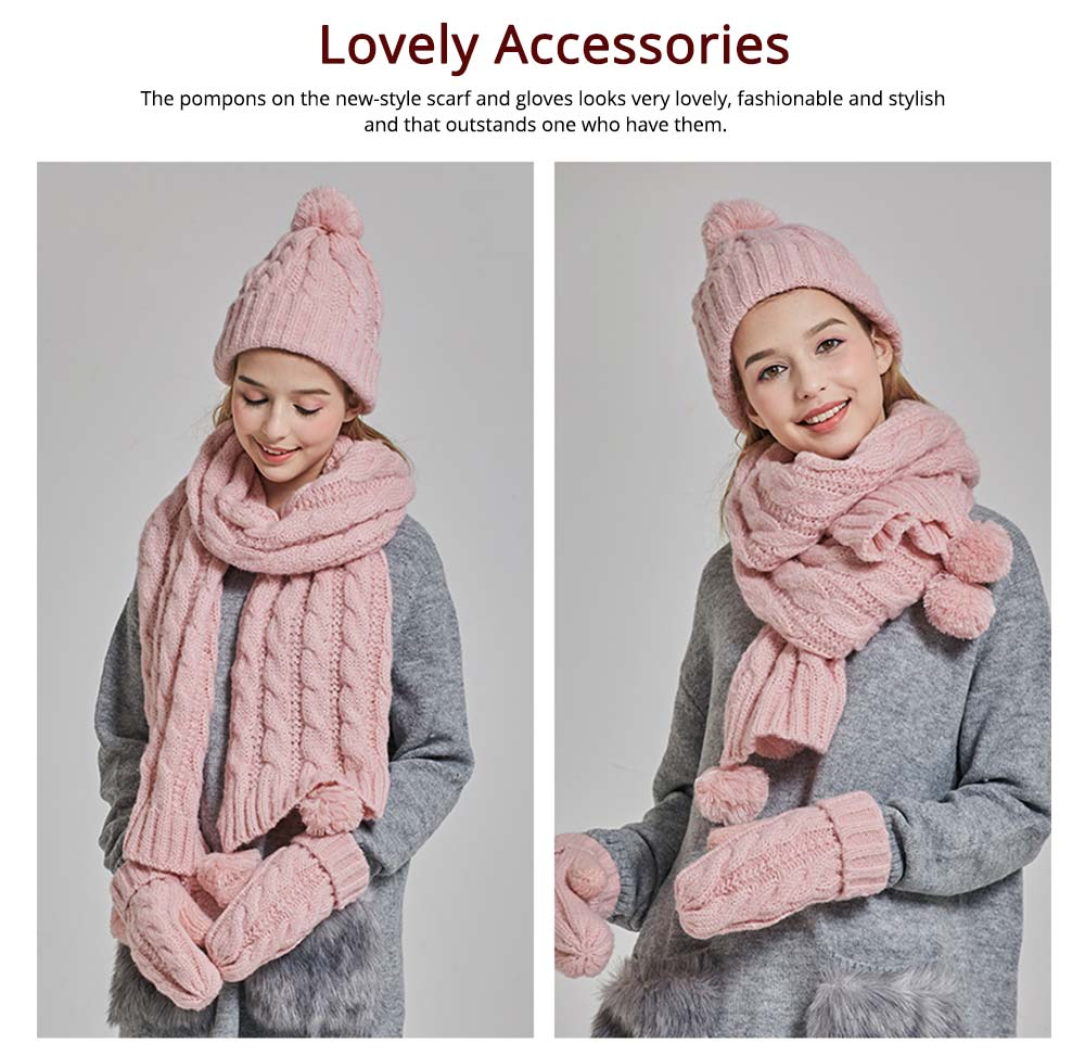 Gloves, Scarves & Hats for Women Anti-coldness Christmas Gift, Wool-added Thickened Korean Style Lovely Gift for Warmth 3