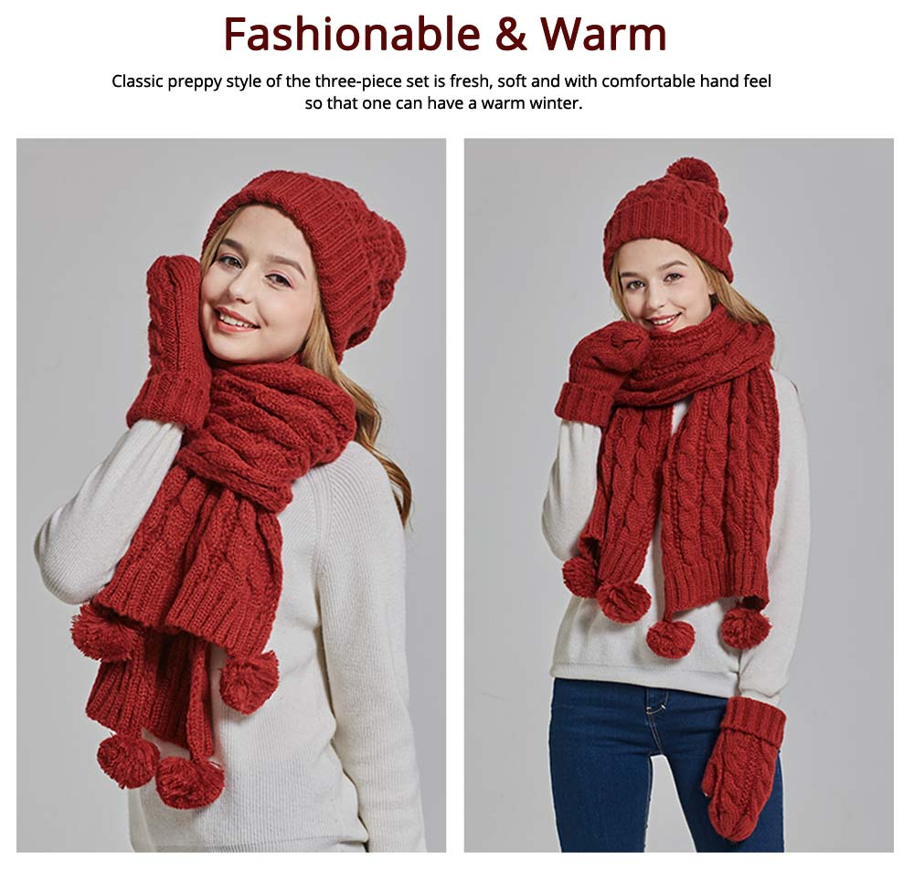 Gloves, Scarves & Hats for Women Anti-coldness Christmas Gift, Wool-added Thickened Korean Style Lovely Gift for Warmth 5