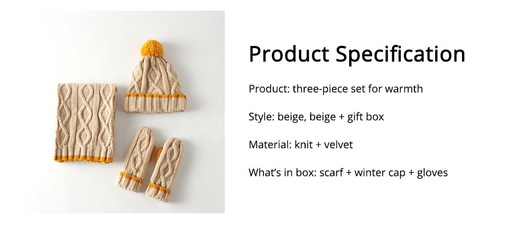 Women's Hats Gloves Scarves Thickened Wool-added Three-piece Set as Gift for Friends 6