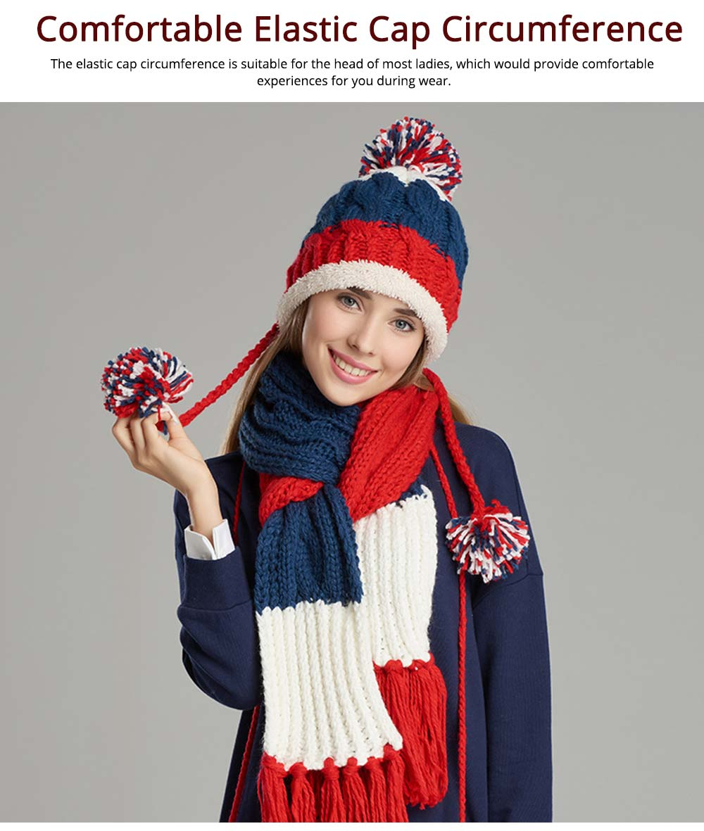 Thicken Women Scarf Hat Gloves Set with Fluffy Ball Decoration Gifts for Ladies 3 PCS Set 3