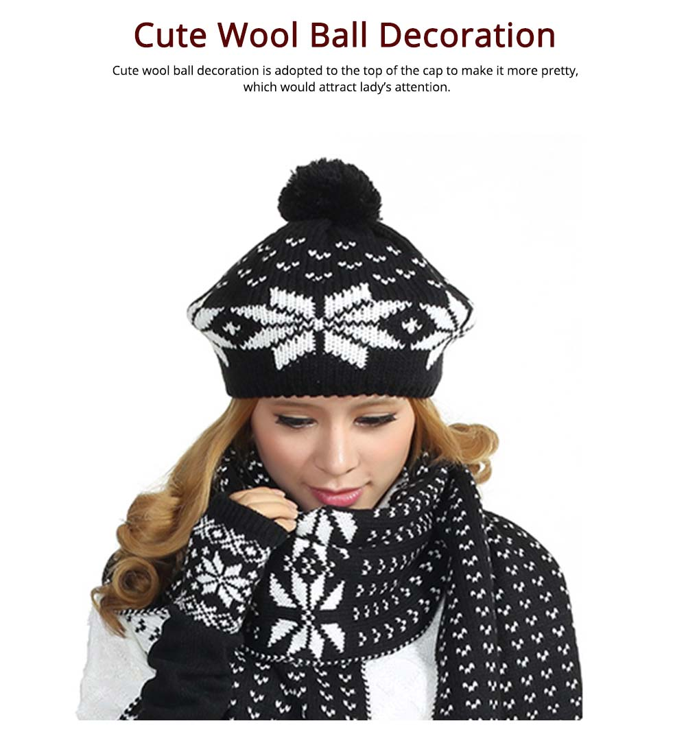 Thicken Acrylic Snowflake Painting Ladies Scarf Hat Mitt Gloves Suit Fashion Colors Contrast Winter 3 PCS Set  4