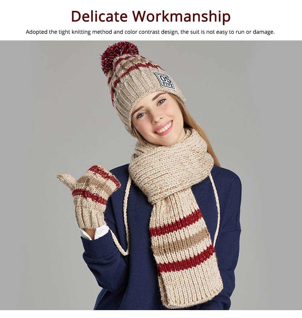 Winter Hats, Scarves & Gloves with Warm Plush, Comfort Soft Knitting Wool Knitted Snood Face Neck Hand Warmer Cravat Beanies 10