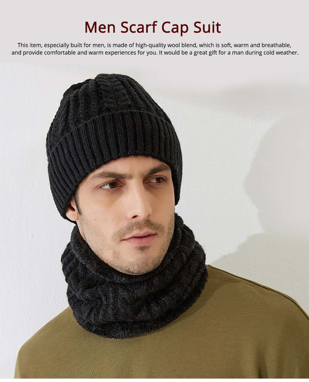 Ultra-soft Plush Knitted Hat Cap Cravat, Autumn Winter Thicken Men Outdoor Scarf Cap Suit with Smooth Plush 0