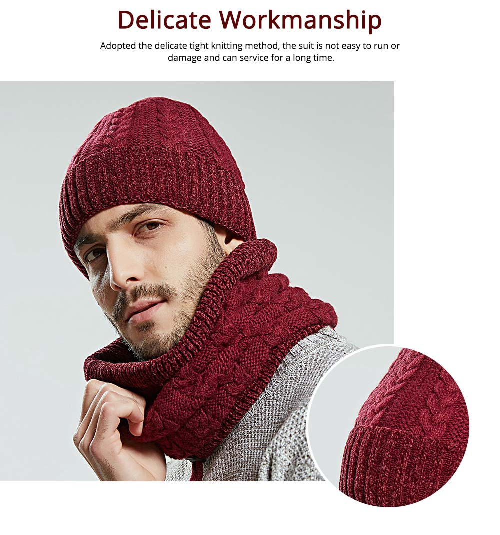 Ultra-soft Knit Beanie Cap and Circle Scarf, Minimalist Autumn Winter Men Scarf Cap Suit with Smooth Chenille 4