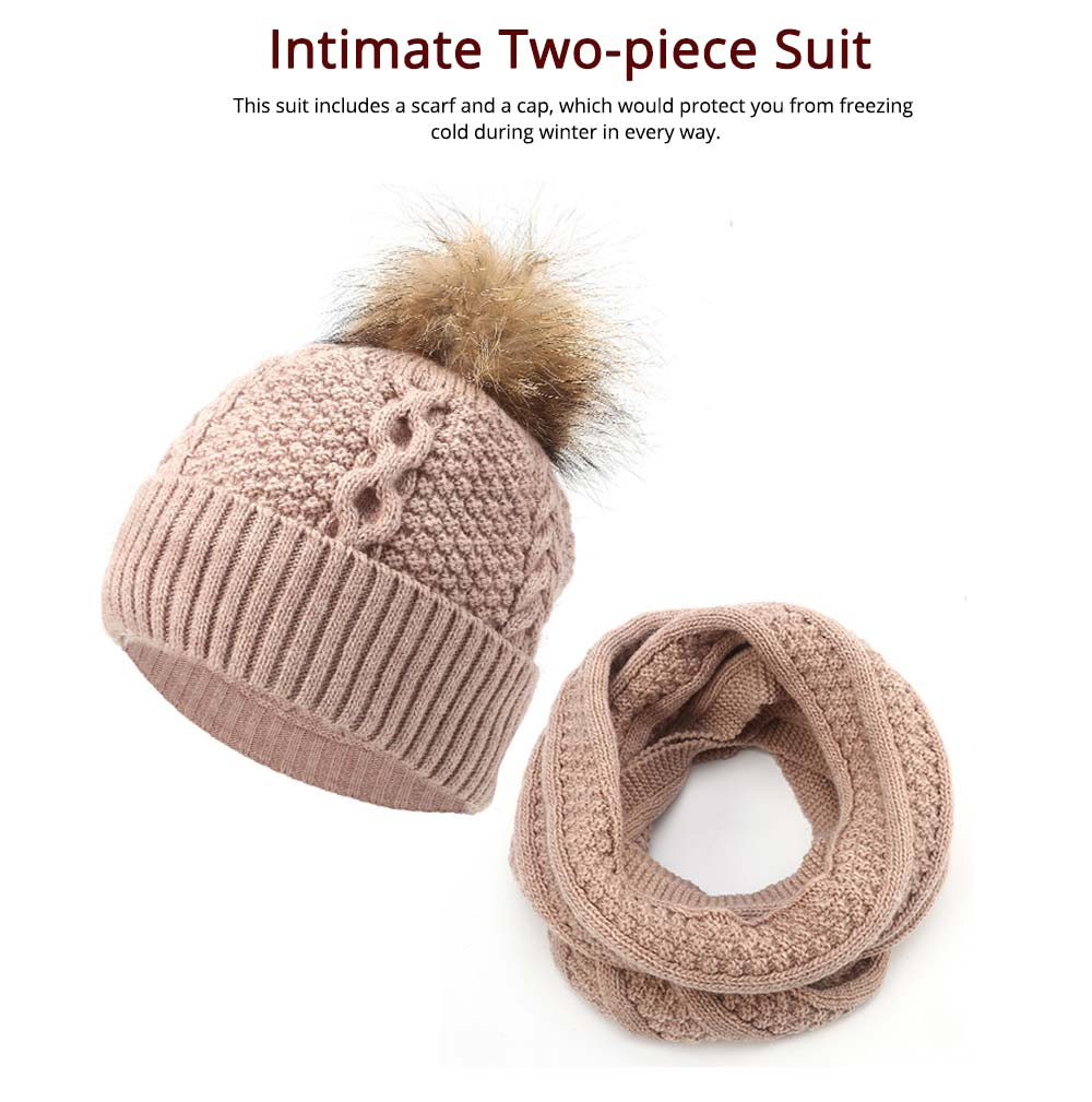 Thick Women Scarf Cap Suit, Warm Soft Acrylic Knitted Snood Face Neck Warmer Cravat Beanies 10