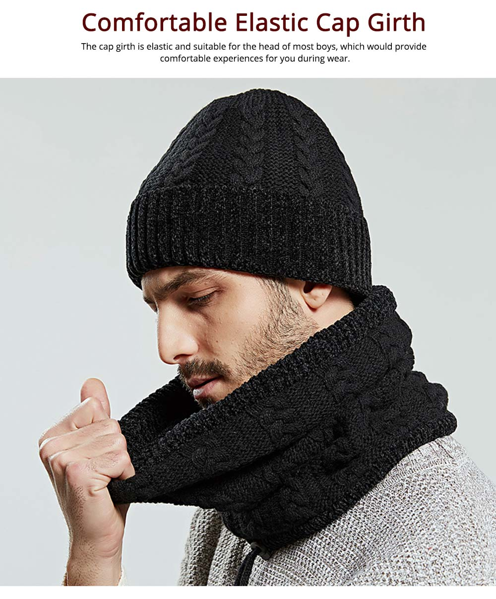 Ultra-soft Knit Beanie Cap and Circle Scarf, Minimalist Autumn Winter Men Scarf Cap Suit with Smooth Chenille 3