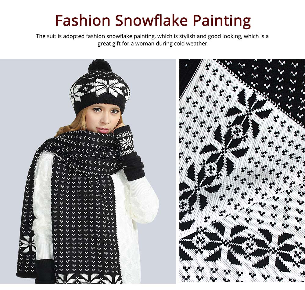 Thicken Acrylic Snowflake Painting Ladies Scarf Hat Mitt Gloves Suit Fashion Colors Contrast Winter 3 PCS Set  6