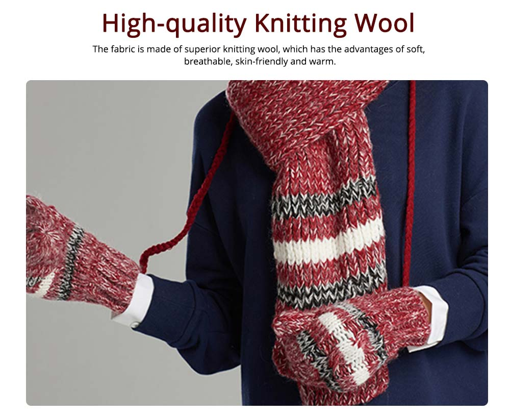Winter Hats, Scarves & Gloves with Warm Plush, Comfort Soft Knitting Wool Knitted Snood Face Neck Hand Warmer Cravat Beanies 7