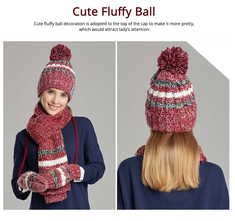 Winter Hats, Scarves & Gloves with Warm Plush, Comfort Soft Knitting Wool Knitted Snood Face Neck Hand Warmer Cravat Beanies 8