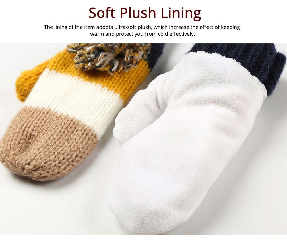 Warm Solid Women 3PCS Scarf Cap Gloves Set, Ultra-Soft Acrylic Knitted Beanies Snood Face Neck Hand Warmer 2