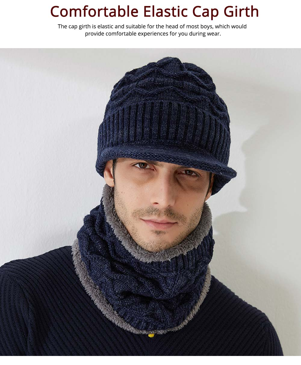 Cold Autumn Winter Men Outdoor Scarf Cap Suit, Comfortable Soft Wool Blend Knitted Face Neck Warmer Cravat 3