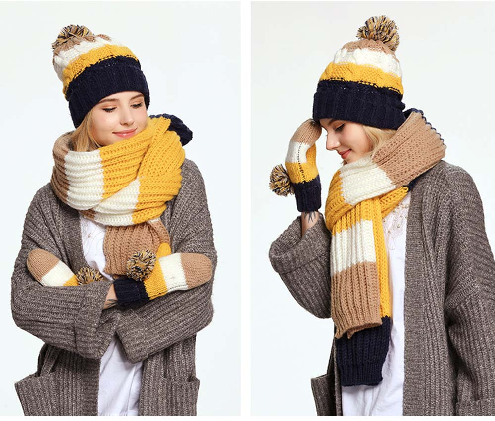 Warm Solid Women 3PCS Scarf Cap Gloves Set, Ultra-Soft Acrylic Knitted Beanies Snood Face Neck Hand Warmer 6