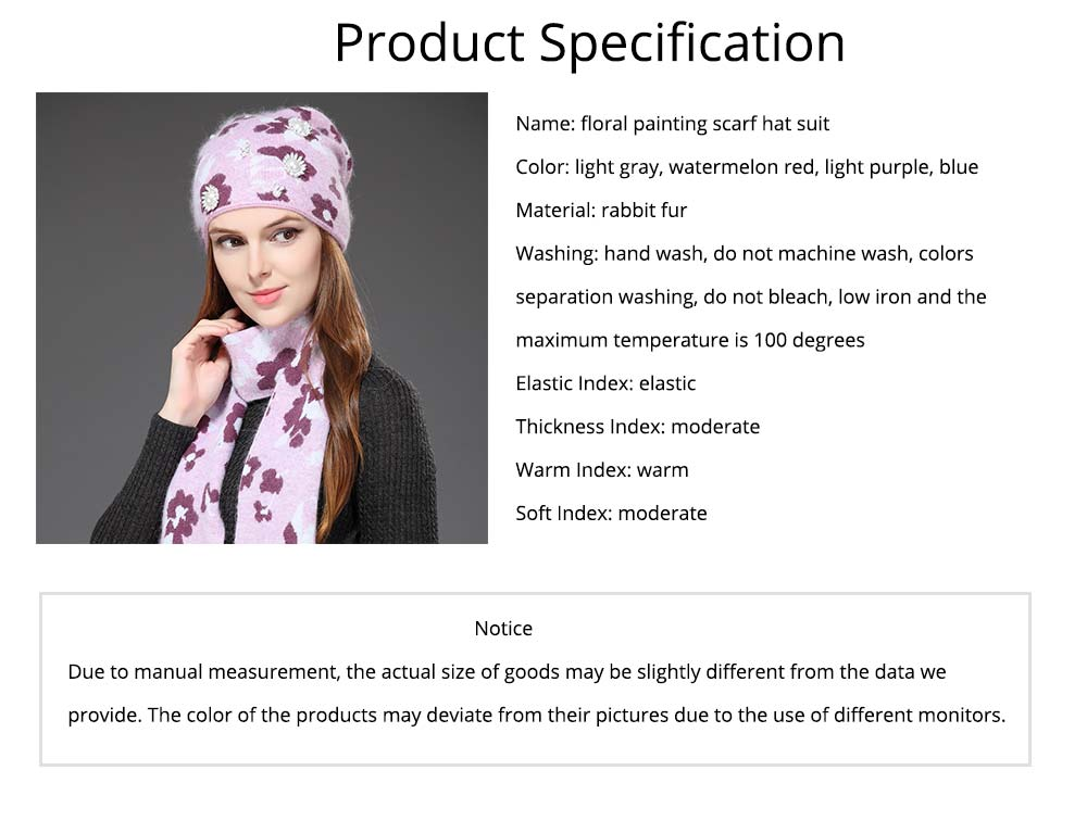 Fashion Women Hat Scarf Set With Beautiful Floral Painting Warm Soft Delicate Rabbit Fur Scarf Hooded Beanie Cap 6