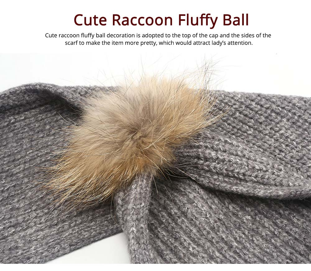 Women Beanie Hat Scarf Set with Fluffy Decorative Ball, Warm Winter Thicken Outdoor Skiing Knitted Cap Scarf Suit 10