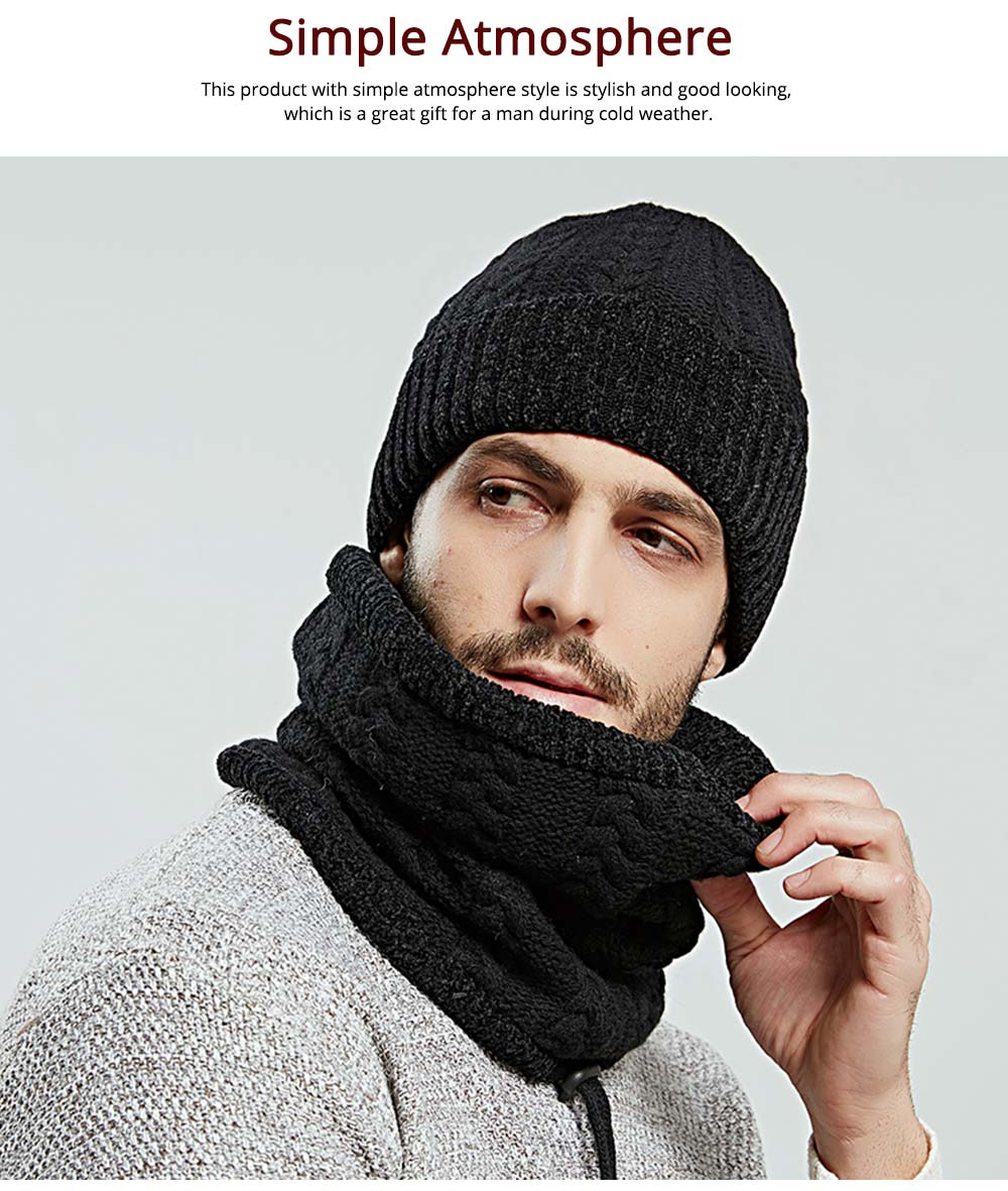 Ultra-soft Knit Beanie Cap and Circle Scarf, Minimalist Autumn Winter Men Scarf Cap Suit with Smooth Chenille 5