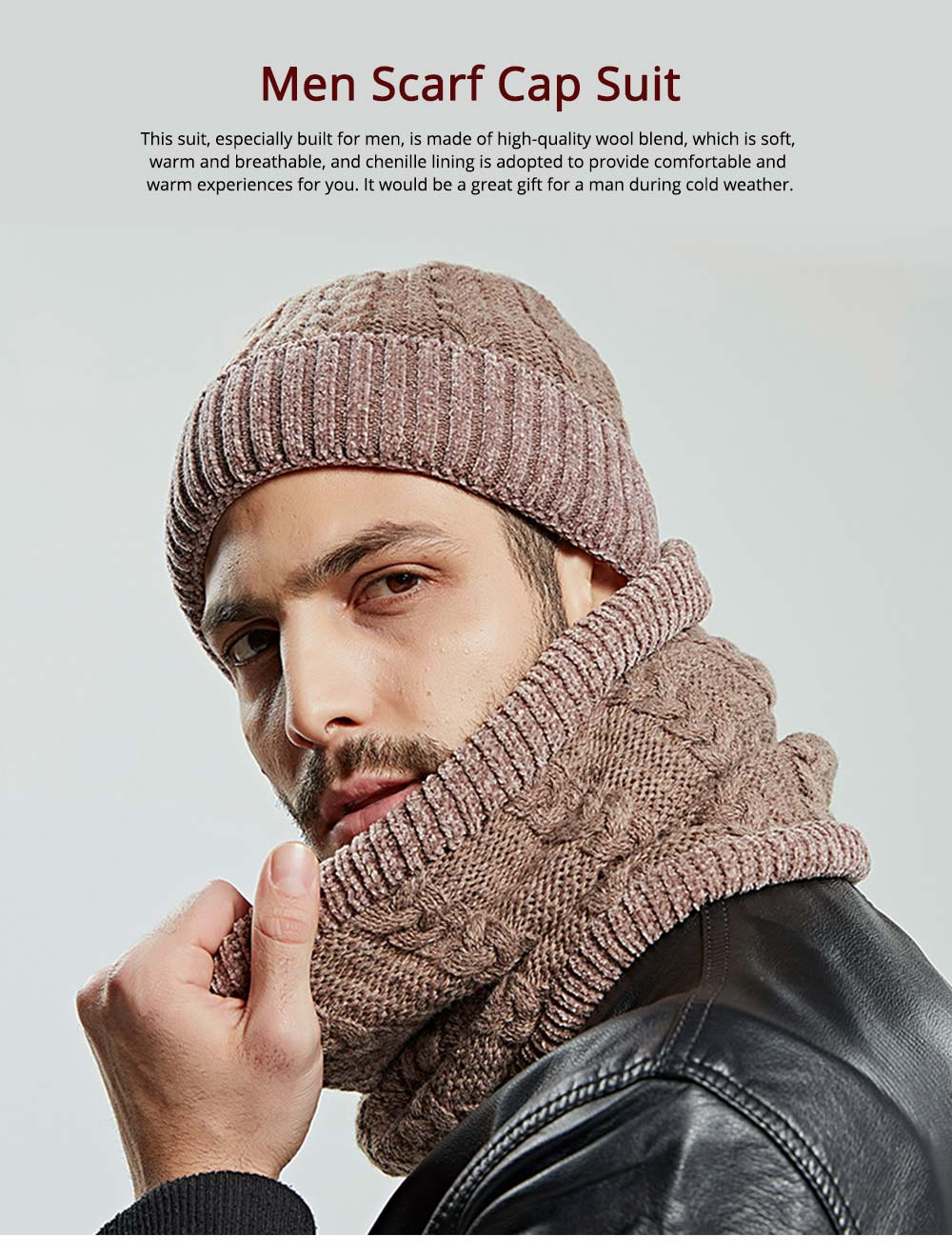 Ultra-soft Knit Beanie Cap and Circle Scarf, Minimalist Autumn Winter Men Scarf Cap Suit with Smooth Chenille 0