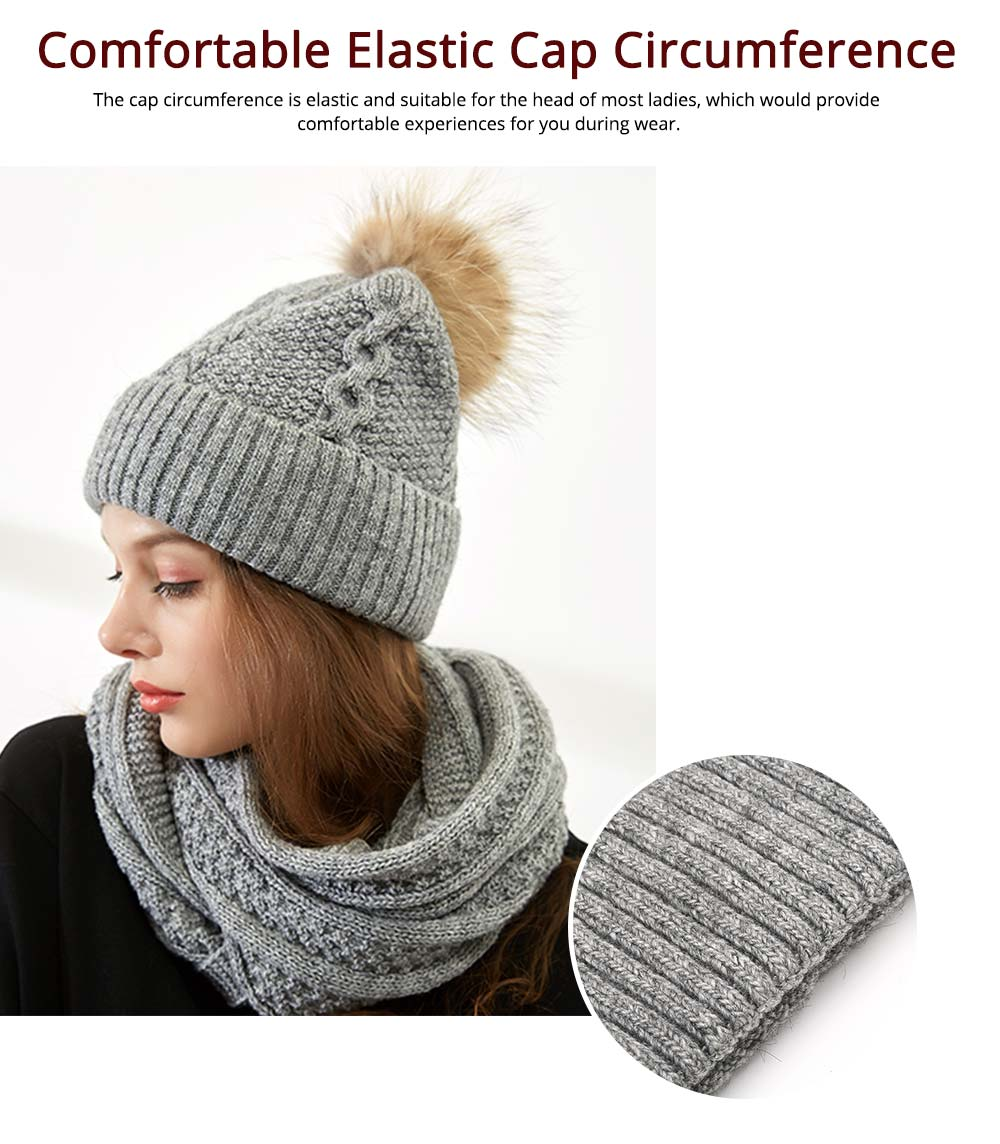 Thick Women Scarf Cap Suit, Warm Soft Acrylic Knitted Snood Face Neck Warmer Cravat Beanies 8