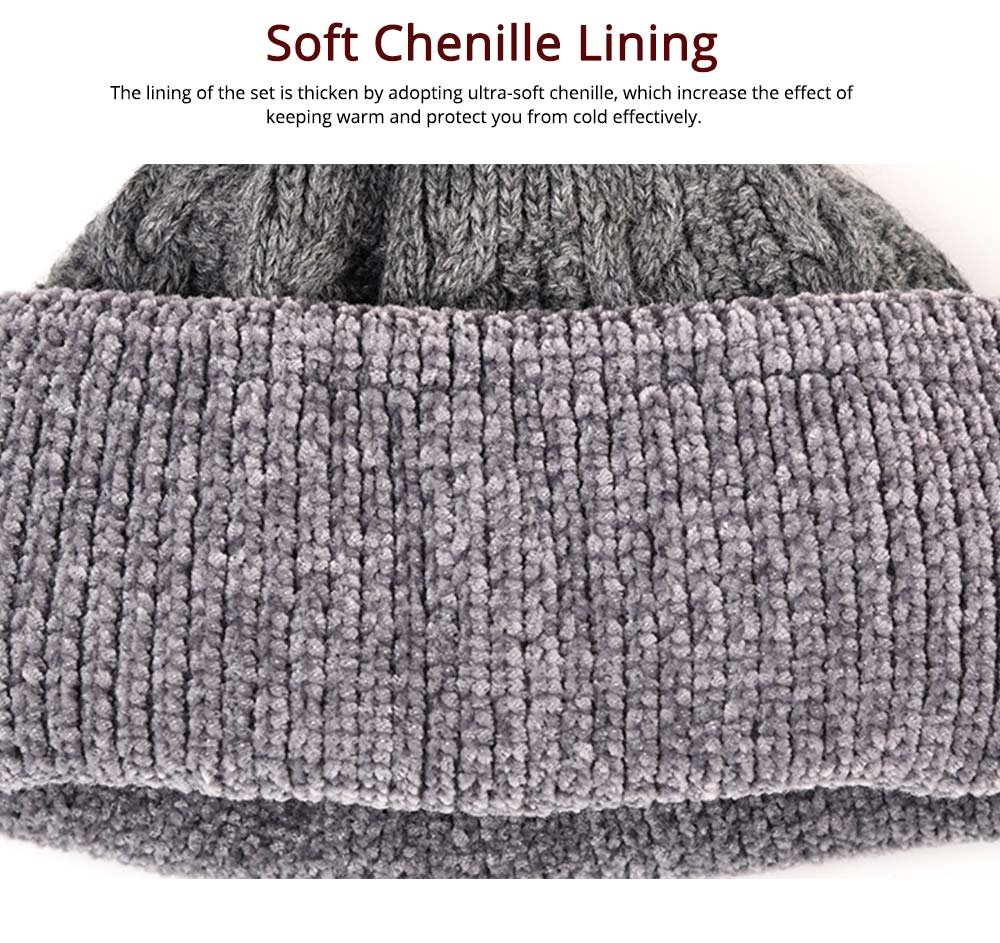 Ultra-soft Knit Beanie Cap and Circle Scarf, Minimalist Autumn Winter Men Scarf Cap Suit with Smooth Chenille 2