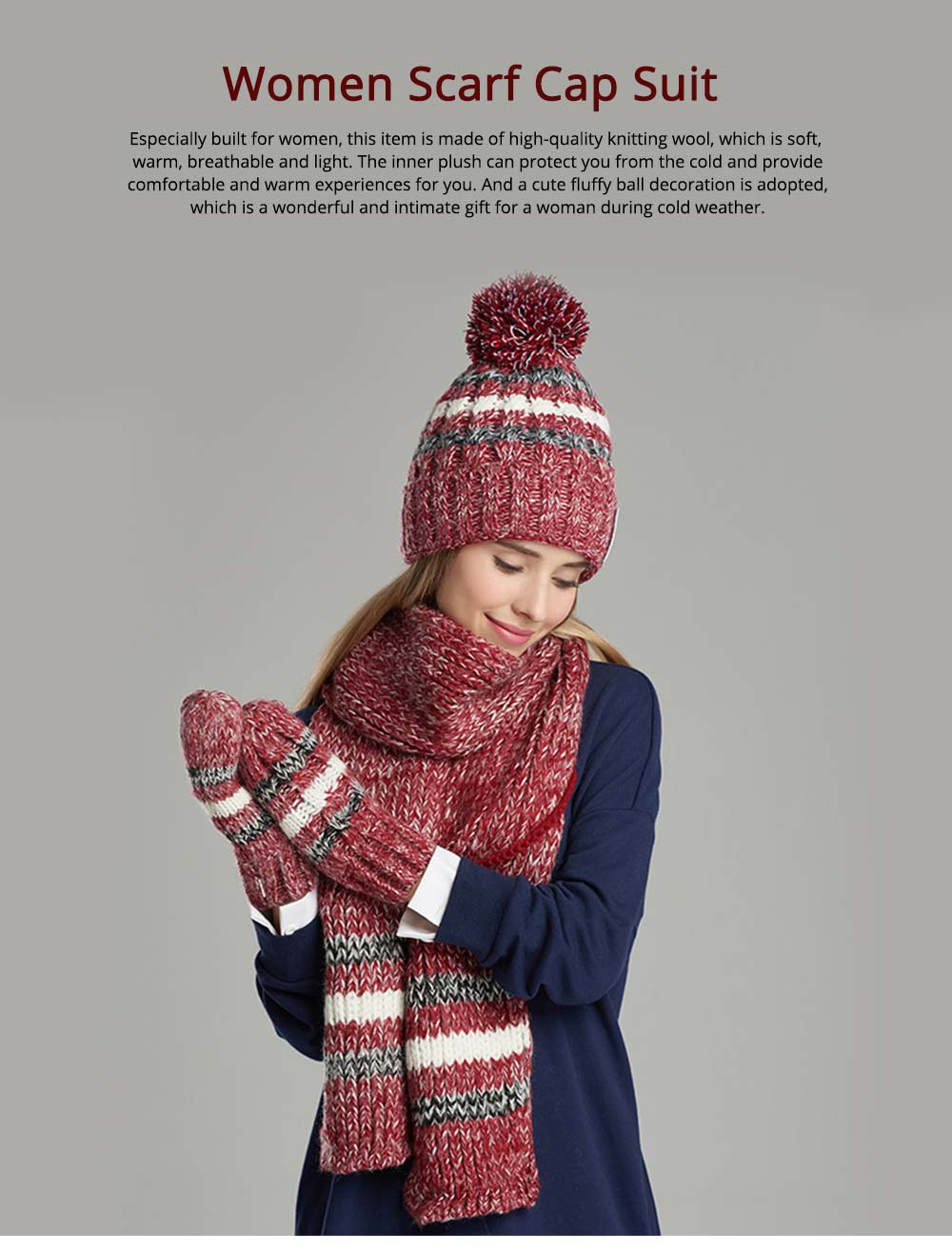Winter Hats, Scarves & Gloves with Warm Plush, Comfort Soft Knitting Wool Knitted Snood Face Neck Hand Warmer Cravat Beanies 0