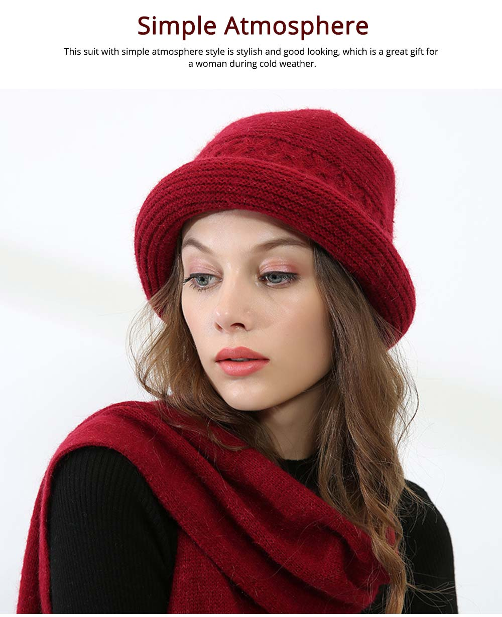 Fashion Simple Women Crimping Edge Hat Scarf Suit, Warm Smooth Rabbit Fur Wool Blend Knitted Hat and Circle Scarf 12