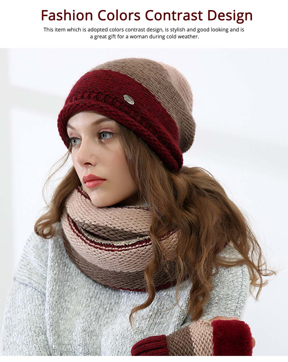 Thicken Scarf Hat Mitten Gloves 3PCS Suit, Fashion Cute Color Contrast Knitted Beanie Scarf Reflective Cap 5