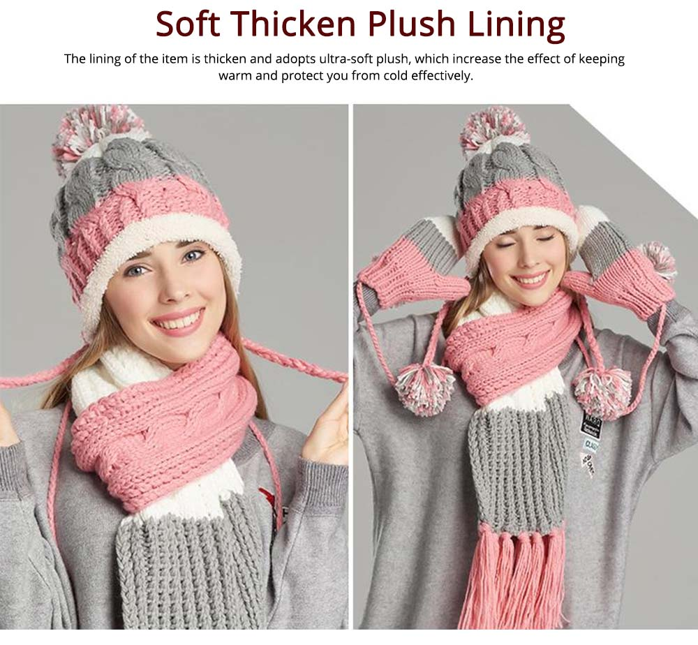 Thicken Women Scarf Hat Gloves Set with Fluffy Ball Decoration Gifts for Ladies 3 PCS Set 2